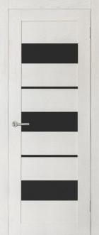 Дверь Параллель, цвет ясень, черное стекло