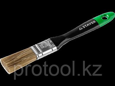"""Кисть плоская STAYER """"EURO"""", """"AQUA"""" для воднодисперсионных и акриловых ЛКМ, искусств щетина, деревян ручка, 1"""""""