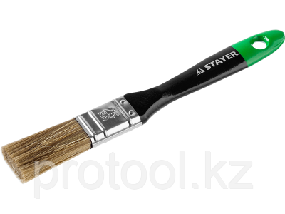 """Кисть плоская STAYER """"EURO"""", """"AQUA"""" для воднодисперсионных и акриловых ЛКМ, искусств щетина, деревян ручка, 1"""", фото 2"""