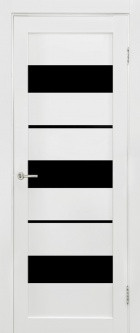 Дверь Параллель, цвет белый мат, черное стекло