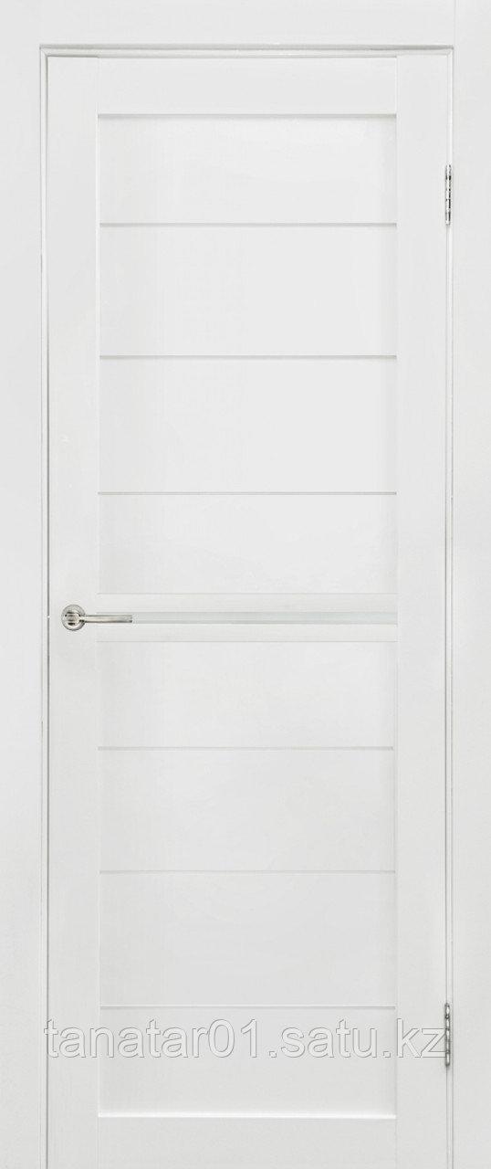 Дверь Вектор, цвет белый мат, матовое стекло