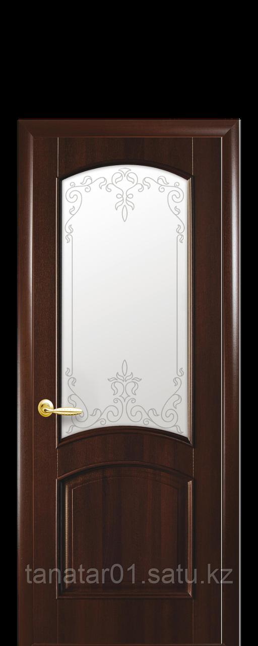 "Дверь ""Антре"" со стеклом стеклом каштан"