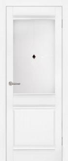 Дверь Омега, цвет белый, со стеклом