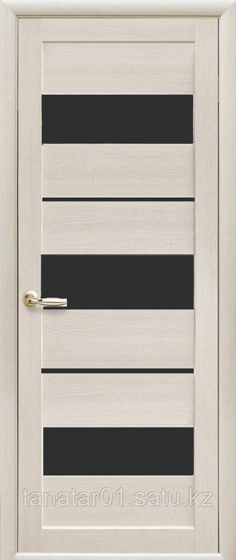 """Дверь """"Лилу"""" с чёрным стеклом дуб жемчужный"""