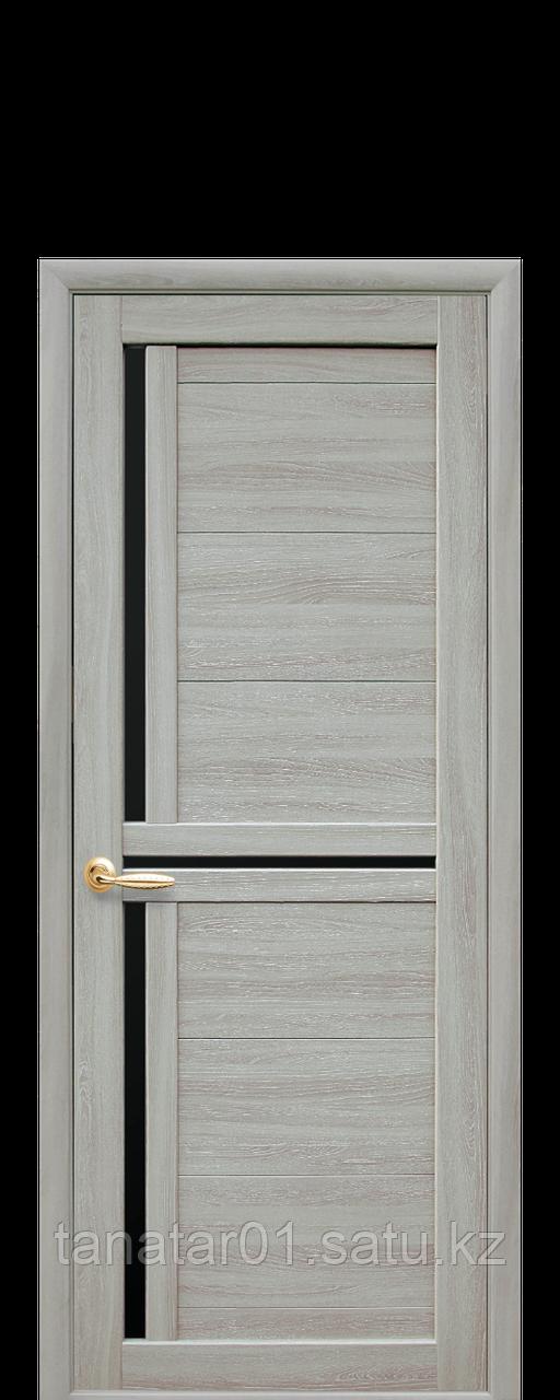 """Дверь """"Тринити"""" с чёрным стеклом ясень патина"""