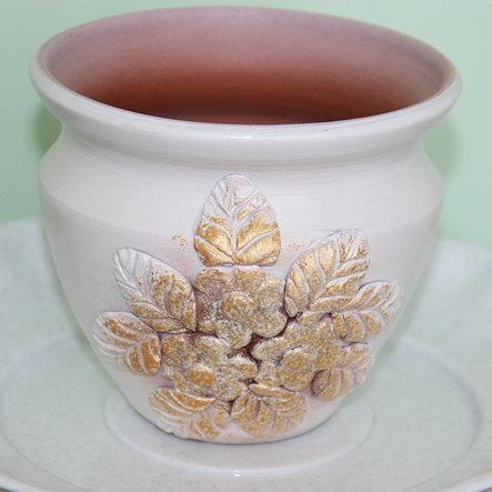 Керамический горшок для цветов ручной работы. 0.5 л., фото 2