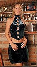 """Винилово-кожаный блестящий набор топ и юбка на шнуровке""""Risque wear"""""""