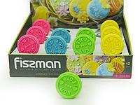 7659 FISSMAN Штамп для печенья на деревянной ручке 6 см (силикон) (12 шт. в промо-коробке)