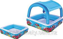 Бассейн детский с надувным дном и навесом 147х147х122см BestWay 52192