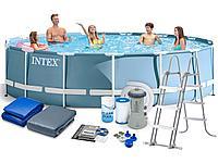 Каркасный бассейн Intex 28734 + фильтр-насос,лестница,тент,подстилка (457х107см)