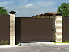 Автоматические откатные уличные ворота стандартных размеров в алюминиевой раме с заполнением сэндвич-панелями