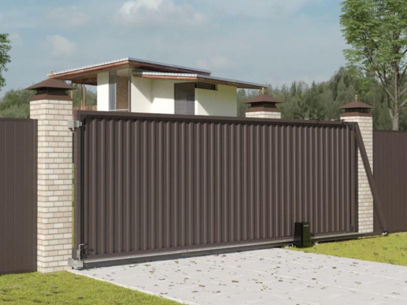 Автоматические откатные уличные ворота стандартных размеров с заполнением профлистом REVOLUTION-SLS