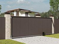Автоматические откатные уличные ворота стандартных размеров с заполнением профлистом REVOLUTION-SLS, фото 1
