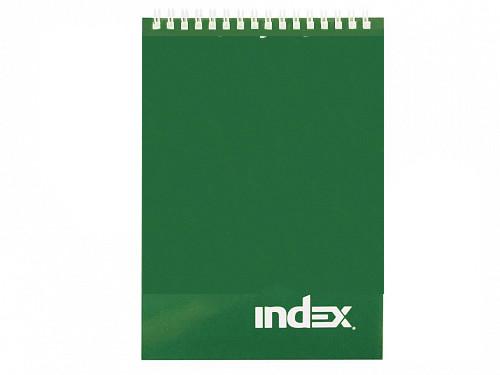 """Блокнот INDEX """"Office"""" на спирали, А7, 40 листов в клетку, зеленый"""