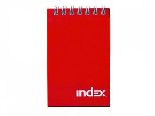 """Блокнот INDEX """"Office"""" на спирали, А7, 40 листов в клетку, красный"""