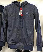 Костюм спортивный мужской Adidas с капюшоном сиреневый/серый