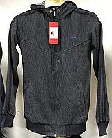 Костюм спортивный мужской Adidas с капюшоном серый с синим логотипом