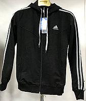 Костюм спортивный мужской Adidas с капюшоном черный-белый/черный