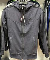 Костюм спортивный мужской Adidas с капюшоном серый-черный