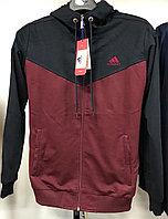 Костюм спортивный мужской Adidas с капюшоном бордовый/черный