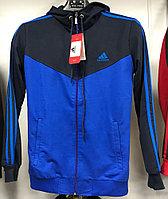 Костюм спортивный мужской Adidas с капюшоном синий-черный/черный