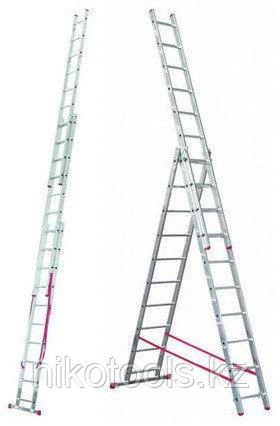 Алюминиевая лестница 3х10, Н=6,5/7,5м (5310)