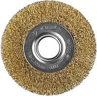 """ЗУБР """"ПРОФЕССИОНАЛ"""". Щетка дисковая для УШМ, витая стальная латунированная проволока 0,3мм, 100х22мм"""