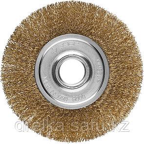 """ЗУБР """"ПРОФЕССИОНАЛ"""". Щетка дисковая для УШМ, витая стальная латунированная проволока 0,3мм, 125х22мм, фото 2"""
