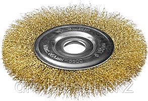 """ЗУБР """"ПРОФЕССИОНАЛ"""". Щетка дисковая для УШМ, витая стальная латунированная проволока 0,3мм, 150х22мм, фото 2"""