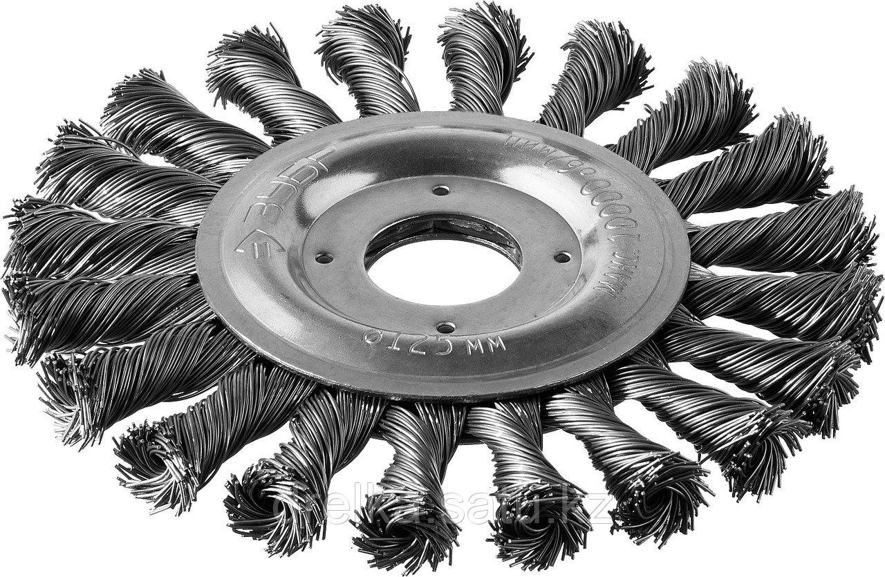 """ЗУБР """"ПРОФЕССИОНАЛ"""". Щетка дисковая для УШМ, плетеные пучки стальной проволоки 0,5мм, 125х22мм"""