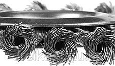 """ЗУБР """"ПРОФЕССИОНАЛ"""". Щетка дисковая для УШМ, плетеные пучки стальной проволоки 0,5мм, 125х22мм, фото 3"""