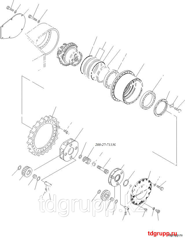 208-27-71130 Шестерня редуктора хода Komatsu PC400-7