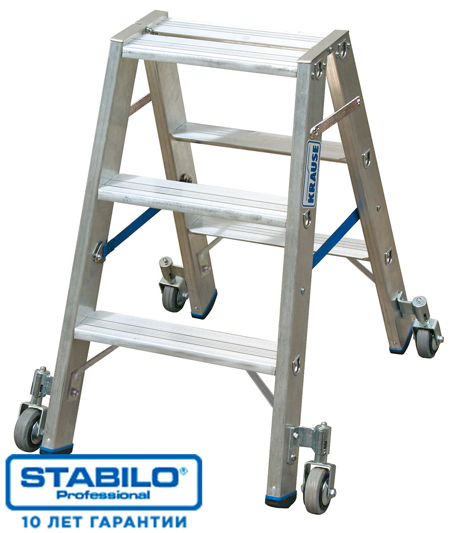Передвижная двухсторонняя лестница-стремянка 2х3 ступ. KRAUSE STABILO