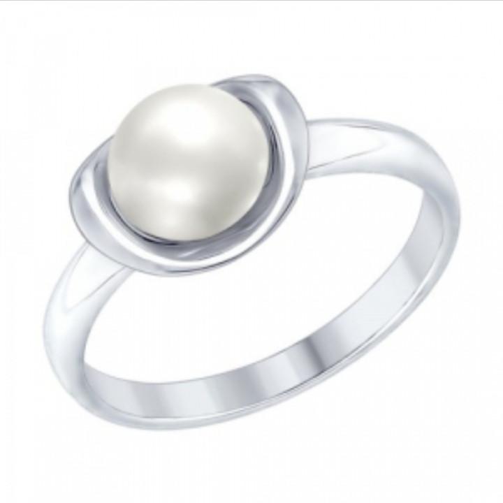 Кольцо с жемчугом / серебро - 17 размер