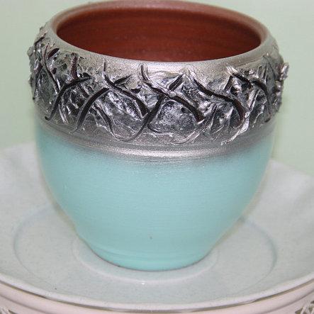 Керамический  горшок для цветов.1 литр, фото 2