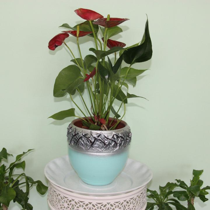 Керамический  горшок для цветов.1 литр