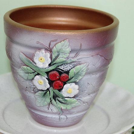 Керамический горшок для цветов ручной работы .1 литр, фото 2