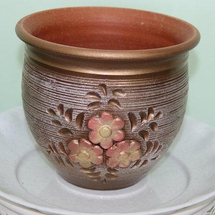 Керамический горшок для цветов ручной работы .4 л, фото 2