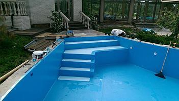 Наши работы по облицовке  бетонных и металлических чаш бассейнов ПВХ лайнером 20