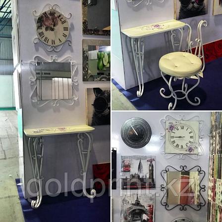 Набор из кованых изделий Пуфик+Консоль+Зеркало+Часы, фото 2