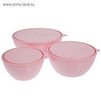 Набор салатников с крышками Bono, 3 шт: 5 л, 2,8 л; 1,7 л, цвет МИКС