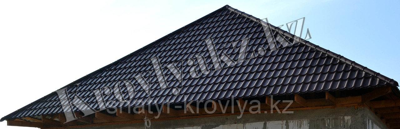 """Металлочерепица Монтеррей (полимерное покрытие"""" Sun matt"""") 9005 черный"""