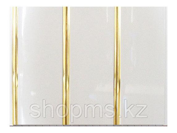 Панель пластиковая трехсекционная Белая-Золото 900КС (0,25*3м/12), фото 2