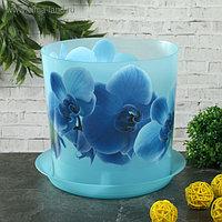 Горшок для орхидей с поддоном «Деко», 2,4 л, цвет голубой
