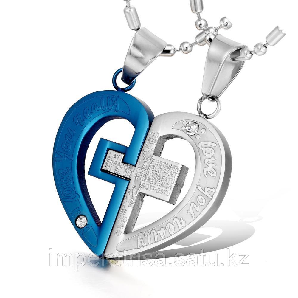 """Двойные кулоны для влюбленных """" Влюбленное сердце 3"""""""