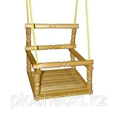 Качели со спинкой деревянные лакированные
