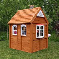"""Детский игровой """"Цветочный домик люкс"""", с крышей, ставнями, звонком, часами, досками для рисования"""
