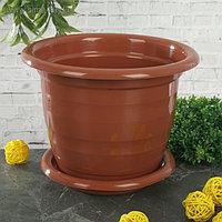 Горшок с поддоном «Виола» 2 л, цвет коричневый