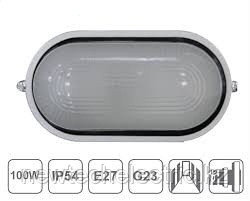 Светильник НБО 23-60-006 - (пластм. с реш., овал, белый) IP44