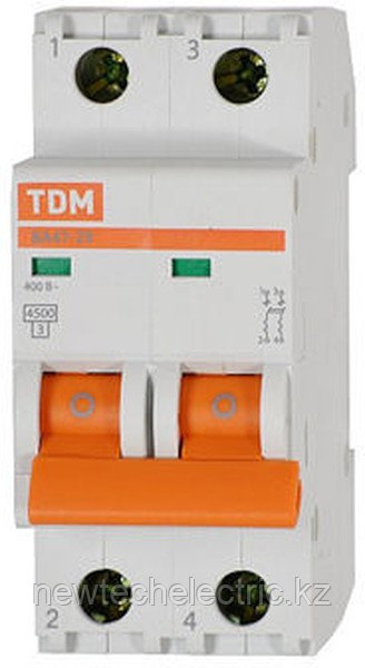 Автоматический выключатель ВА47-63 2Р 10А: 4,5кА х-ка С